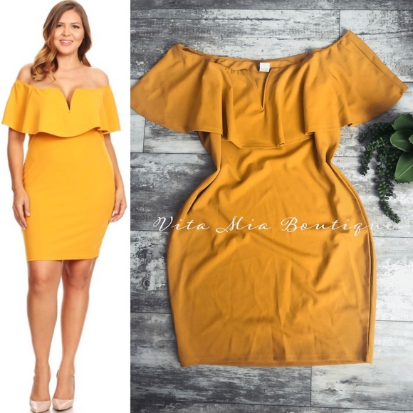 New, PLUS SIZE Yellow Off Shoulder Midi Dress